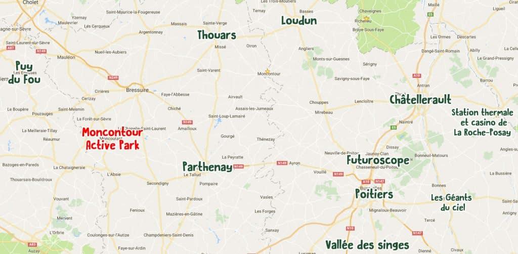Plan des activités et villes incontournables autour de Moncontour